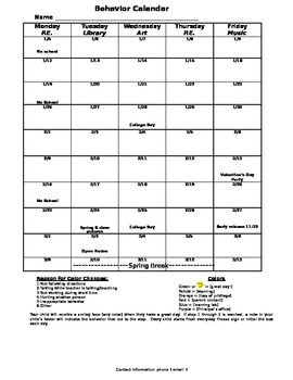 Behavior Calendar 2015