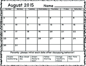 Behavior Calendar 2015-2016