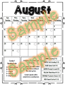 Behavior Calendar 2017-2018 - Elementary