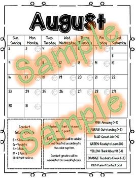 Behavior Calendar 2016-2017 - Kindergarten
