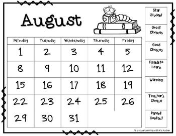 Behavior Calendar: 2016-2017