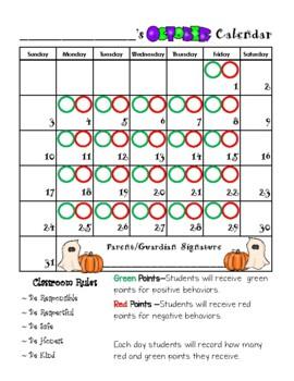 Behavior Calendar 2017-2018