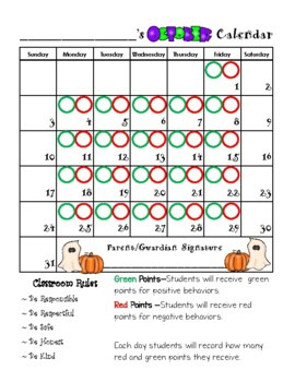 Behavior Calendar 2018-2019