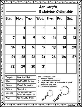 Behavior Calendar 2017-2018! Dr. Seuss Inspired - 2nd Style!