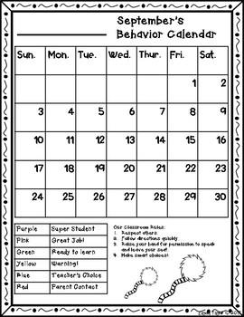 Behavior Calendar 2017-2018! Dr. Seuss Inspired