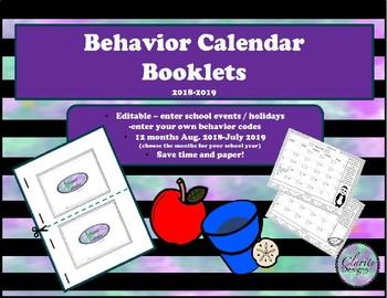 Editable Behavior Calendar Booklets 2018-2019