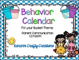 Behavior Calendar 2018-2019 Fill Your Bucket Theme
