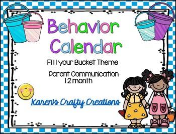 Behavior Calendar 2018-2019 Fill Your Bucket Theme