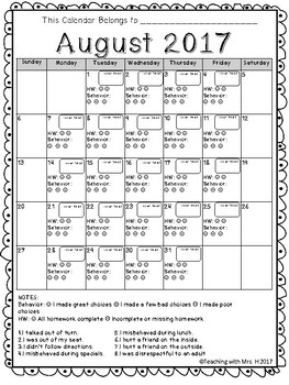 Behavior Calendar Aug 2017- Aug 2018