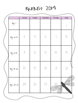 Behavior Calendar August 2014