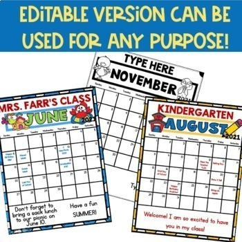 Behavior Calendars 2018 - 2019 Editable