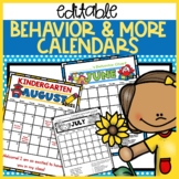 Behavior Calendars 2018 - 2019 Editable