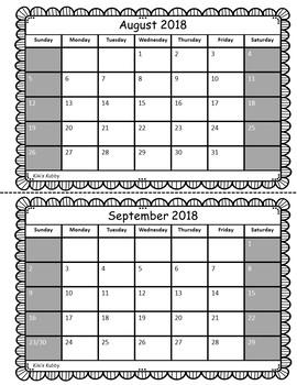 Behavior Calendar Booklet 2018-2019