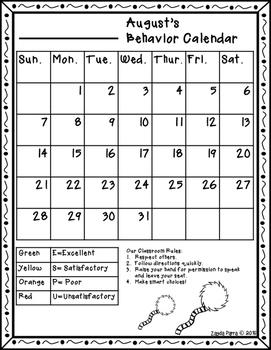 Behavior Calendar Dr. Seuss Inspired 2016- 2017 -ESPU Chart*