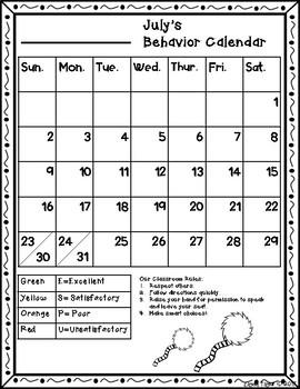 Behavior Calendar Dr. Seuss Inspired 2017- 2018 -ESPU Chart*