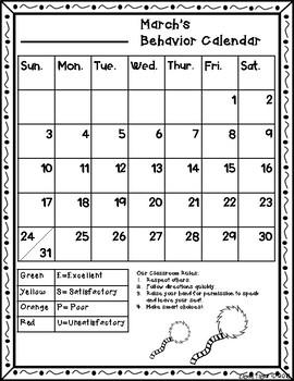 Behavior Calendar Dr. Seuss Inspired 2018- 2019 -ESPU Chart*