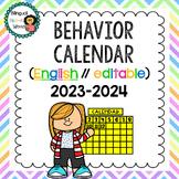 Behavior Calendar ** Editable** 2019-2020
