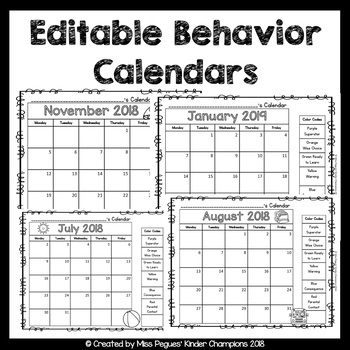 January 2019 Behavior Calendar Behavior Calendar Editable by Miss Pegues' Kinder Champions | TpT