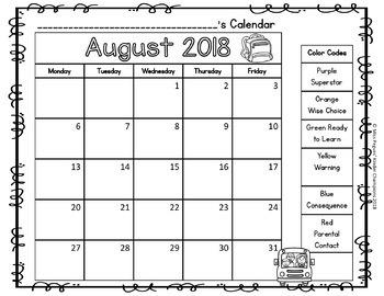 Behavior Calendar Editable