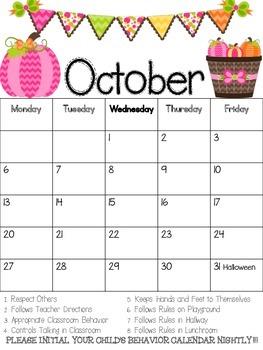 Updated ----Behavior Calendar--Full Year--2016-2017