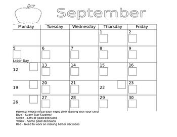Behavior Calendar/Reading Log (Hawaii DOE) - Editable in Word