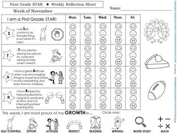Behavior Calendar Reflection Sheets-Responsive Classroom/Growth-Mindset Friendly