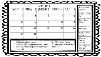 Behavior Calendar Sample FREEBIE