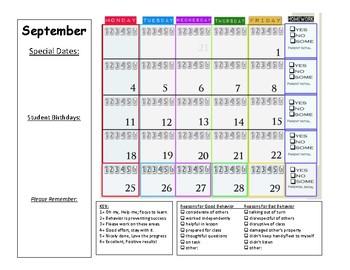Behavior Calendar Sept 2017 - June 2018