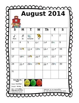 Behavior Calendar & Specials Schedule All-in-One - FREE & EDITABLE