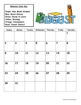 Behavior Calendar and Classroom Clip Chart