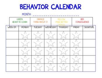 Behavior Calendar and Home Communication