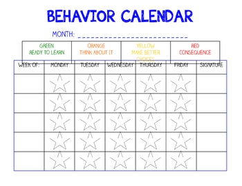 Behavior Calendar and Home Communication by Ms Third Grade ...