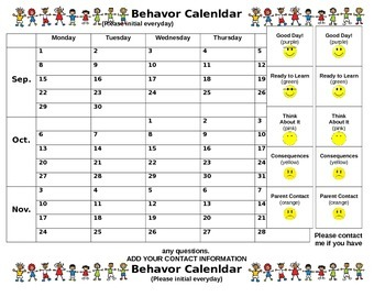Behavior Calendar for 2014 2015 School Year
