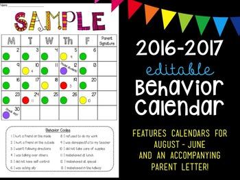 Behavior Calendar for 2016-2017