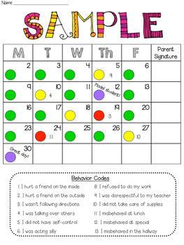 Behavior Calendar for 2017-2018
