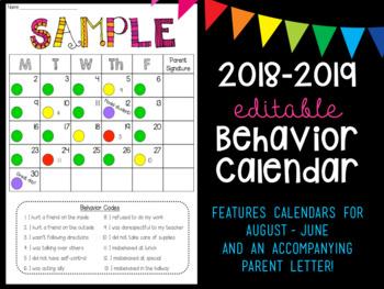 Behavior Calendar for 2018-2019
