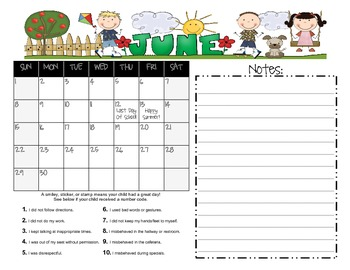 Behavior Calendar for Maria