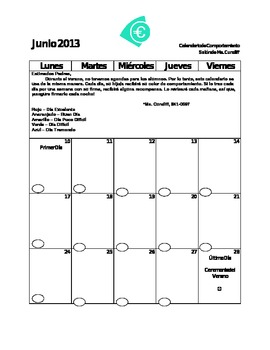 Behavior Calendar for Nightly Parent Signature SPANISH