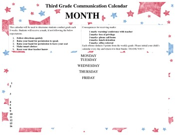 Behavior Calendar for Parent Communication