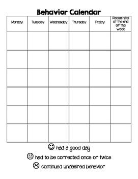 Behavior Calendar - month long