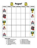 Behavior Calendar with Codes