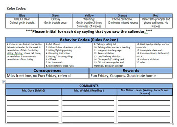 Behavior Calendar with three teacher spaces, codes, rewards and consequences