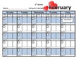 Behavior Calendar with three teacher spaces, codes, reward