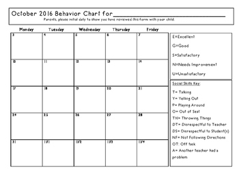 Full School Year Behavior Calendars 2016-2017
