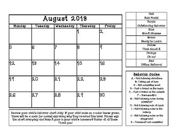 Behavior Calendars - 2013-2014