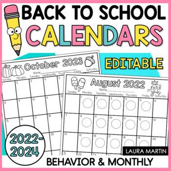 Calendar 2017-2018 Editable-Behavior-Monthly