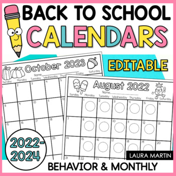 Editable Monthly Behavior Calendar 2018 2019 By Laura Martin TpT