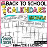 Editable Calendar 2021 - 2022   Monthly Behavior   Back to School