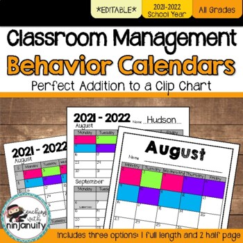 Clip Chart Behavior Calendars - 2016-2017 School Year