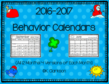 Behavior Calendars 2016-2017